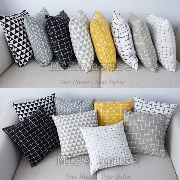 Vỏ gối tựa lưng sofa đẹp hiện đại nhẹ nhàng đủ màu đen vàng trắng xám- vỏ gối vuông 45 x 45cm