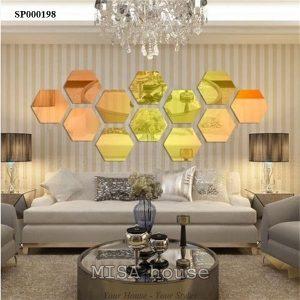 Gương dán tường decor trang trí siêu đẹp bằng mica dễ thi công giá rẻ màu vàng