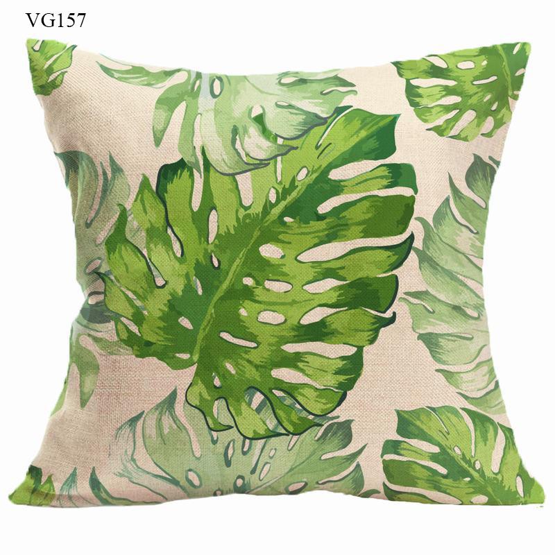 Vỏ gối tựa lưng sofa lá cây cây monstera phong cách tropical đẹp mướt mắt - vỏ gối vuông 45 x 45cm