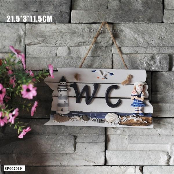 Bảng gỗ handmade Wc nữ treo cửa decor trang trí chủ đề biển