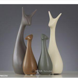 Bộ tượng gốm sứ gia đình hươu trang trí nhà hiện đại tối giản Nordic