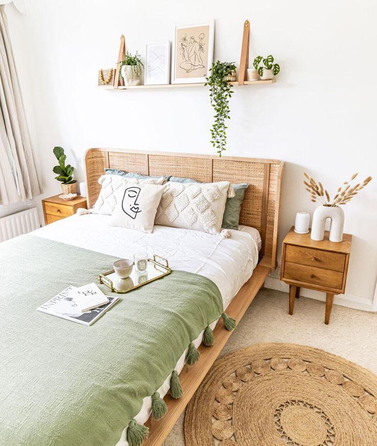 Nội thất phòng ngủ ấm cúng chất liệu gỗ kết hợp 2 màu trắng và sồi