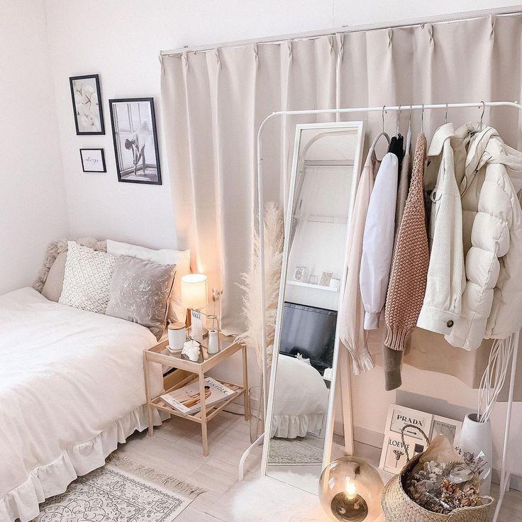Cách trang trí phòng ngủ nhỏ cho nữ phong cách Hàn Quốc màu trắng tươi sáng tối giản
