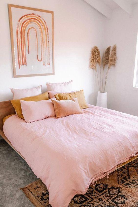 Phòng ngủ màu trắng hồng nhẹ nhàng cho các bạn nữ vừa đơn giản vừa cute dễ thương