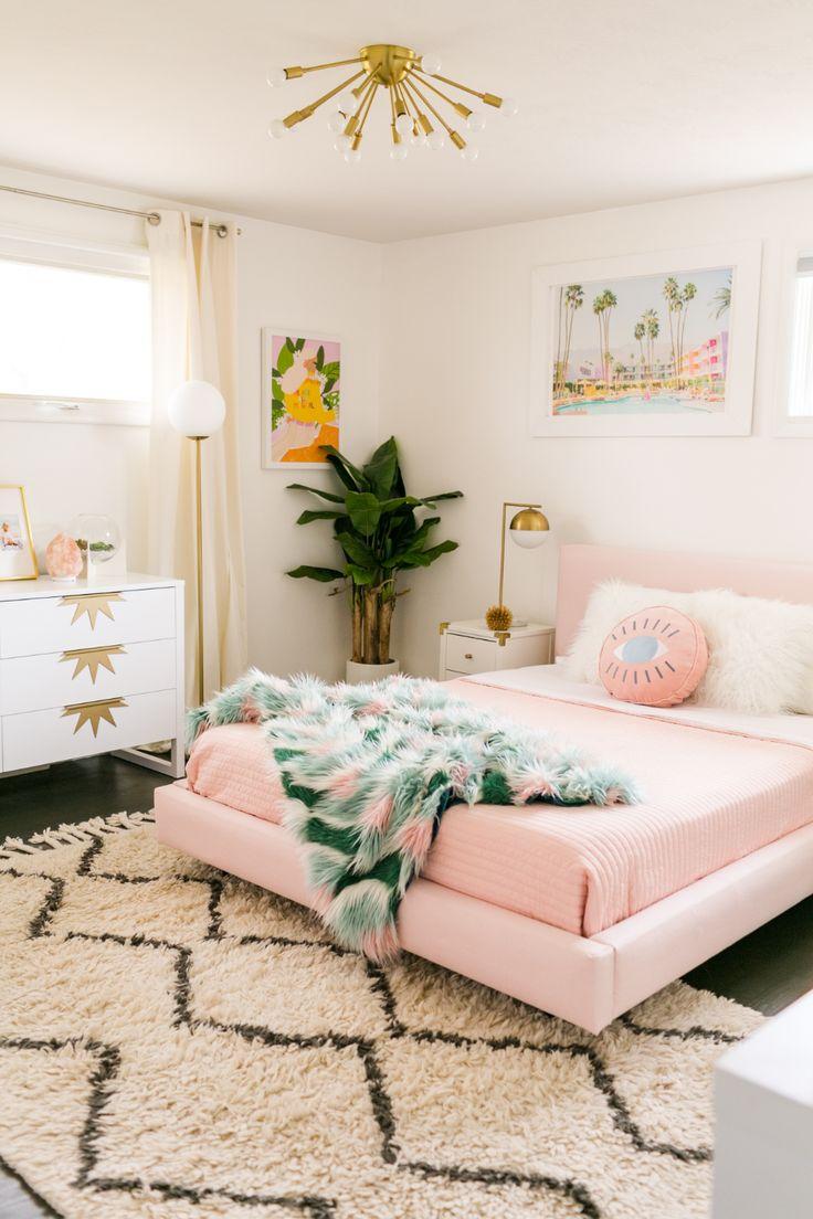 Mẫu phòng ngủ đẹp màu hồng decor trang trí cho nữ.