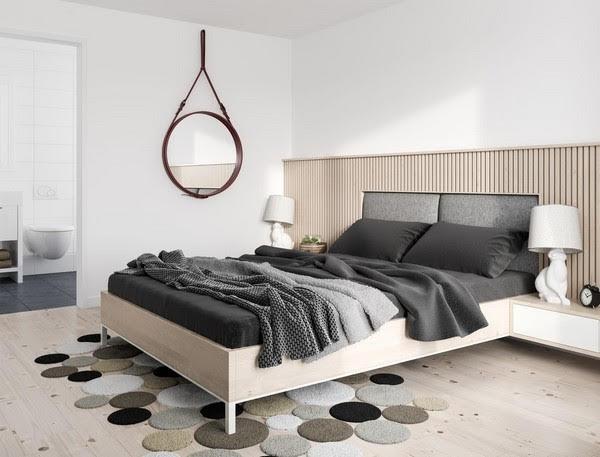 Mẫu Phòng ngủ màu xám trắng pha trộn đẹp và hiện đại