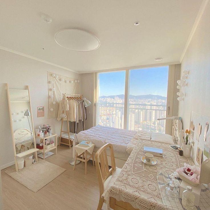 Mẫu phòng ngủ màu trắng và gỗ sồi đẹp dễ trang trí thiết kế phong cách hàn quốc